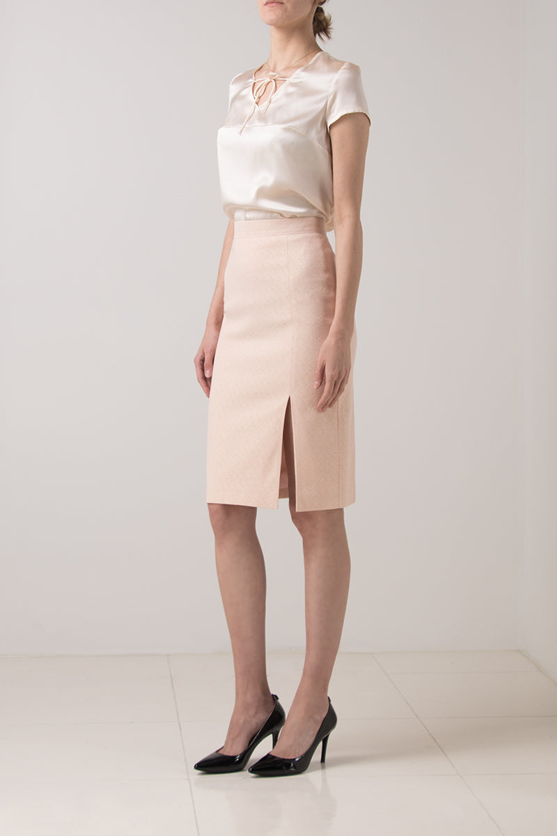 Stretch light pink pencil skirt