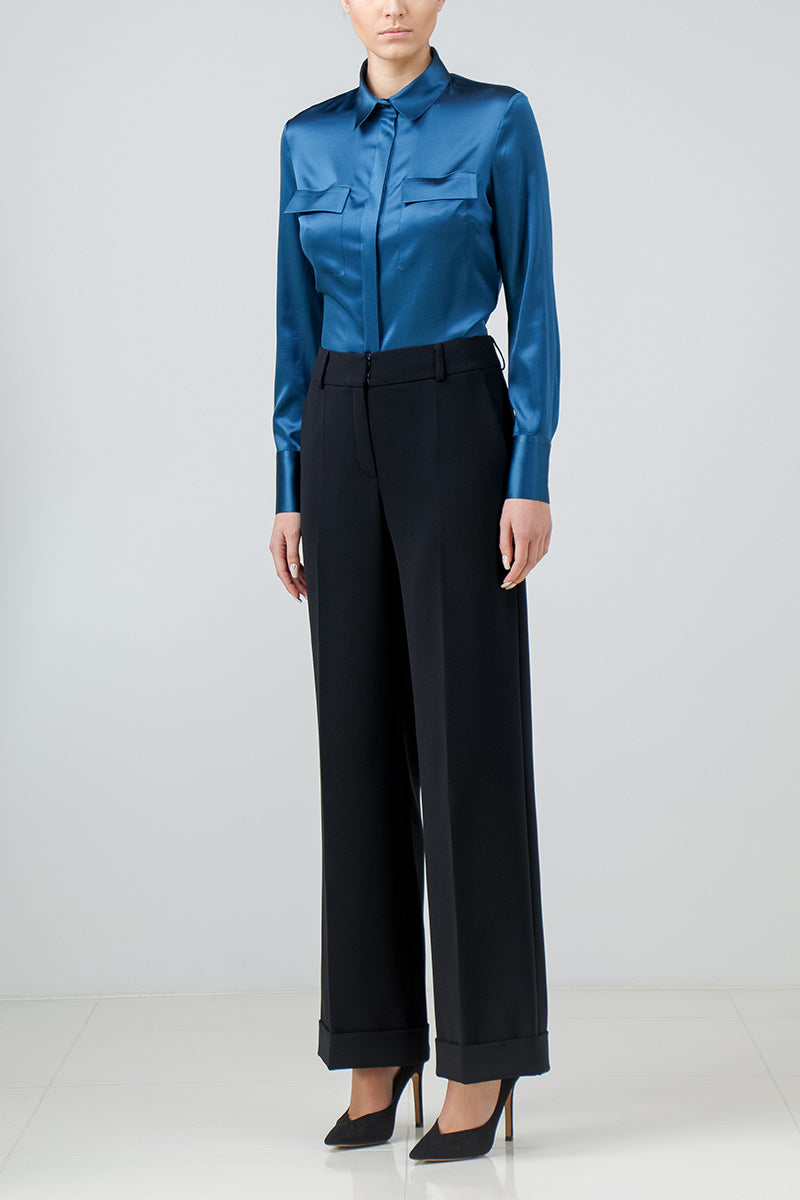 Topaz blue stretch silk shirt