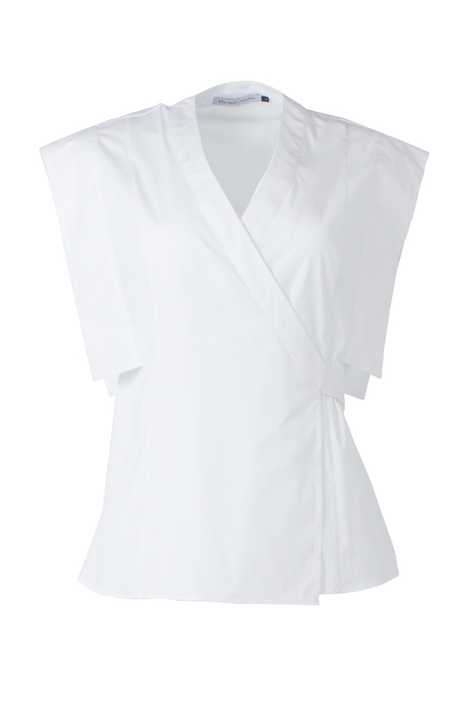 White stretch Egyptian cotton wrap shirt
