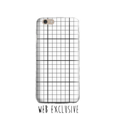 White Grid-Phone Case