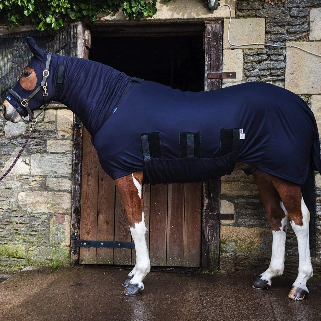 Snuggy Hoods Winter Under Rug with complete tummy coverage & turn out hood set for horse & pony