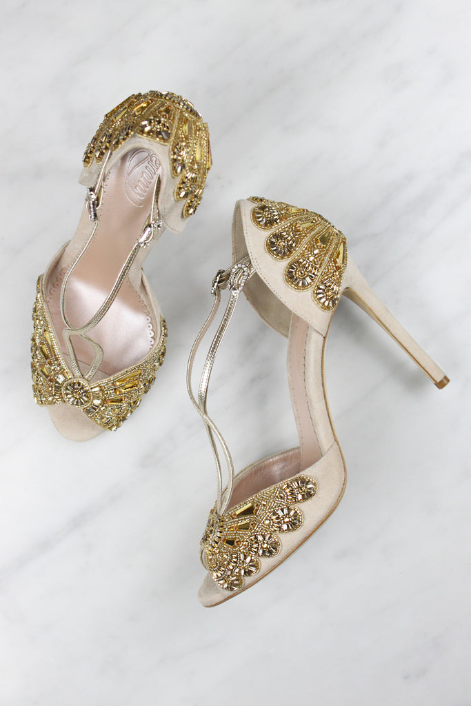 Alice Gold Bridal Shoes Designed by Emmy London Blush Suede and Mirror Glass