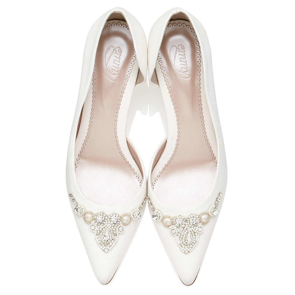Amelia - Bridal Shoe - Ivory Suede - Mid Heel - Pearl and Crystal Trim