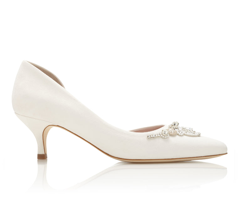 Amelia Kitten - Bridal Shoe - Ivory Suede - Kitten Low Heel - Pearl and Crystal Trim
