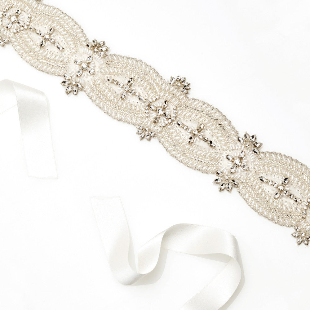 Silver and Ivory Angelina Bridal Belt by Emmy London