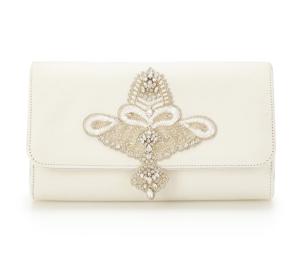 Aurelia Clutch - Bridal Accessories - Ivory Kid Suede - Clutch - Bag -  Pearl Beading and Swarovski Crystals