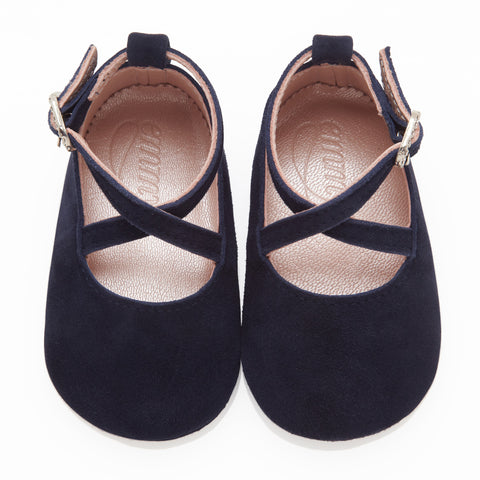Mimi Navy - Baby Girl Shoes - Navy Soft Kid Suede