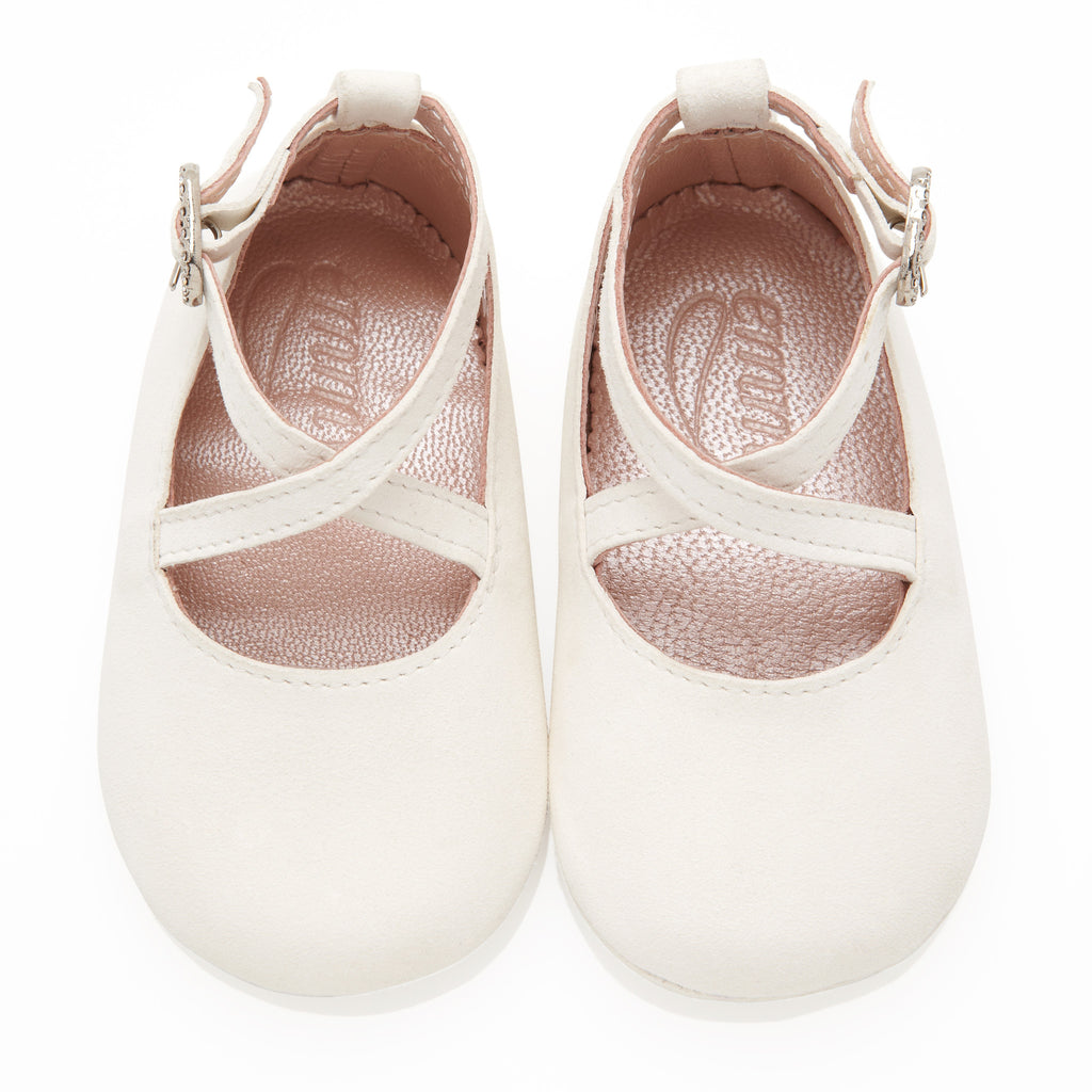 Mimi Ivory - Baby Girl Shoes - Ivory Soft Kid Suede