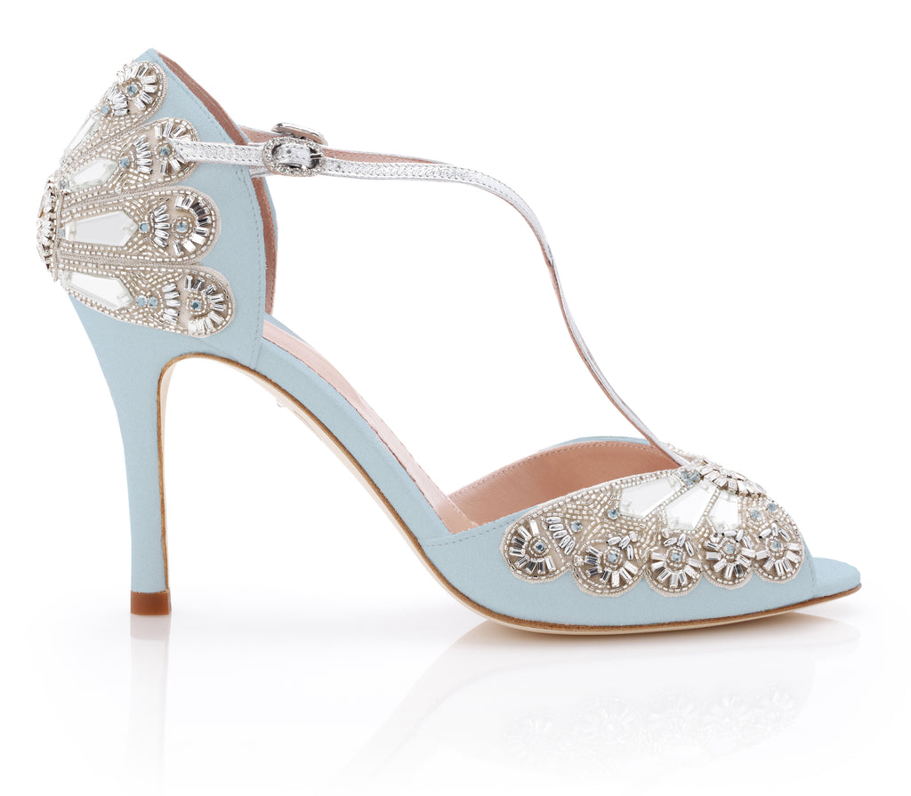 Something Blue Wedding Shoe Emmy London Blue Wedding Shoe Hand made in London