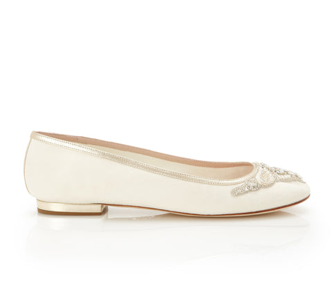 Carrie - Bridal Shoe - Velvety Kid Suede Upper - Flat - Swarovski Trim