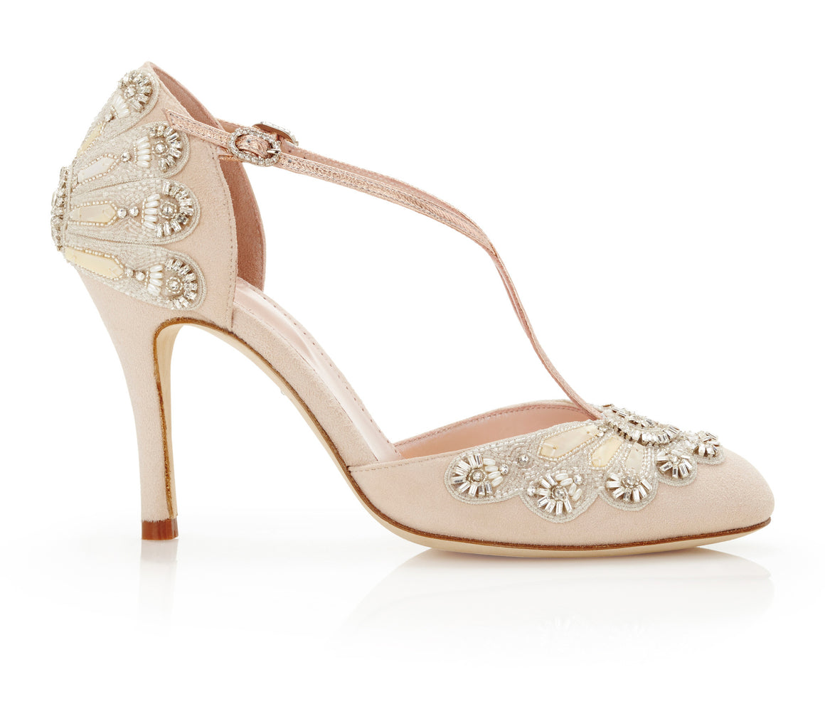 Cecile Blush Embellished Bridal Shoes By Emmy London