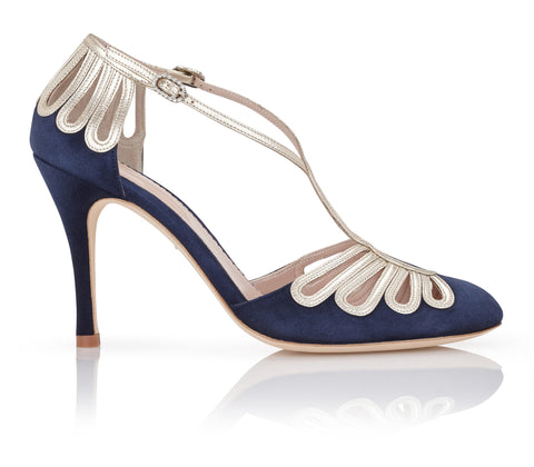 Chloe Midnight Navy and Gold Shoe Sandal for Event and Occasion Wear Emmy London