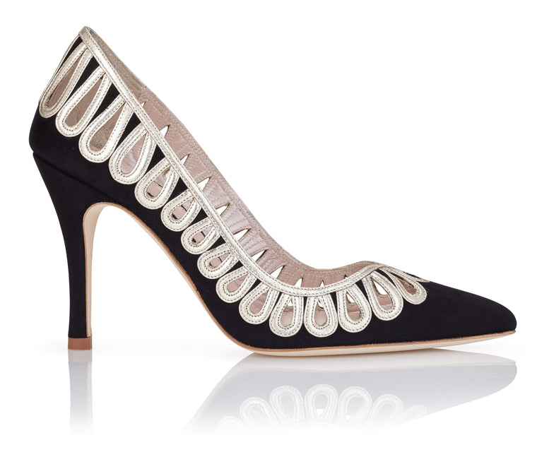 Cilla Jet Black and Gold Event Shoes by Emmy London