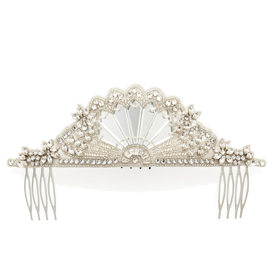 Emmy London Cinderella Demi Halo Bridal Hair Accessory Beaded Mirror Class