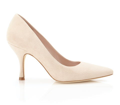 Poppy Blush - Occasion Shoe - Blush Kid Suede - Mid Heel - Court Shoe