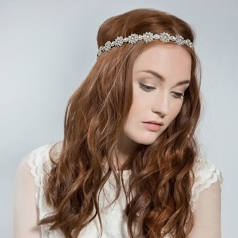 Daisy Halo - Bridal Hair Accessories - Halos - Crystal and Milk Glass