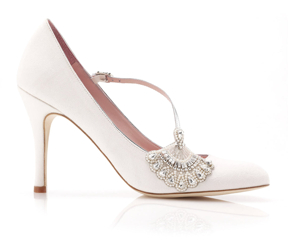Elizabeth - Bridal Shoe -  Ivory Kid Suede - High Heel - Round Toe - Pearl and Crystal Fan Trim