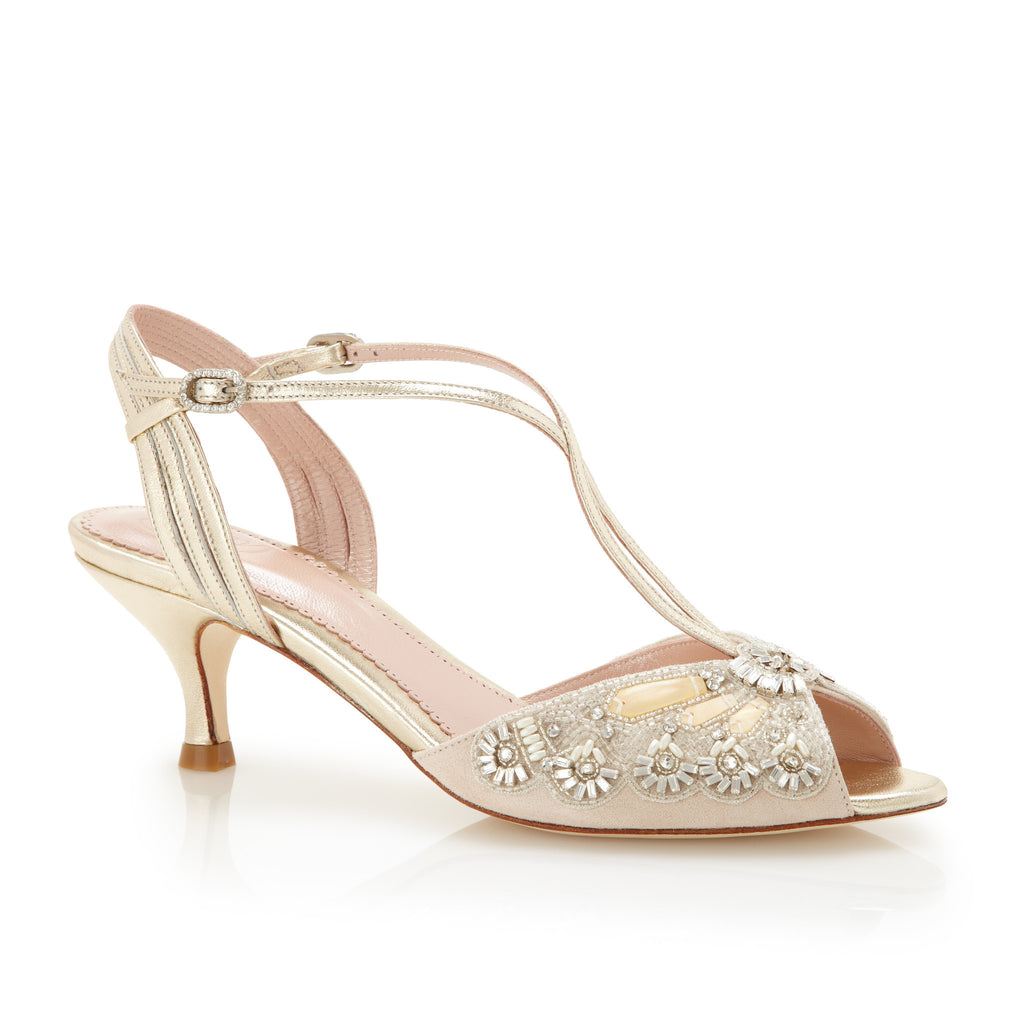 Ella Gold - Bridal Shoe - Blush Kid Suede - Low Heel - Sandal - Mother of Pearl Trim