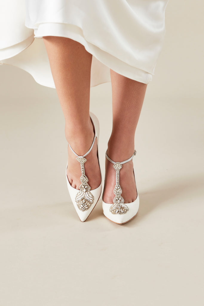 Eleonora Bridal Pointed T-Bar bridal shoes by Emmy London