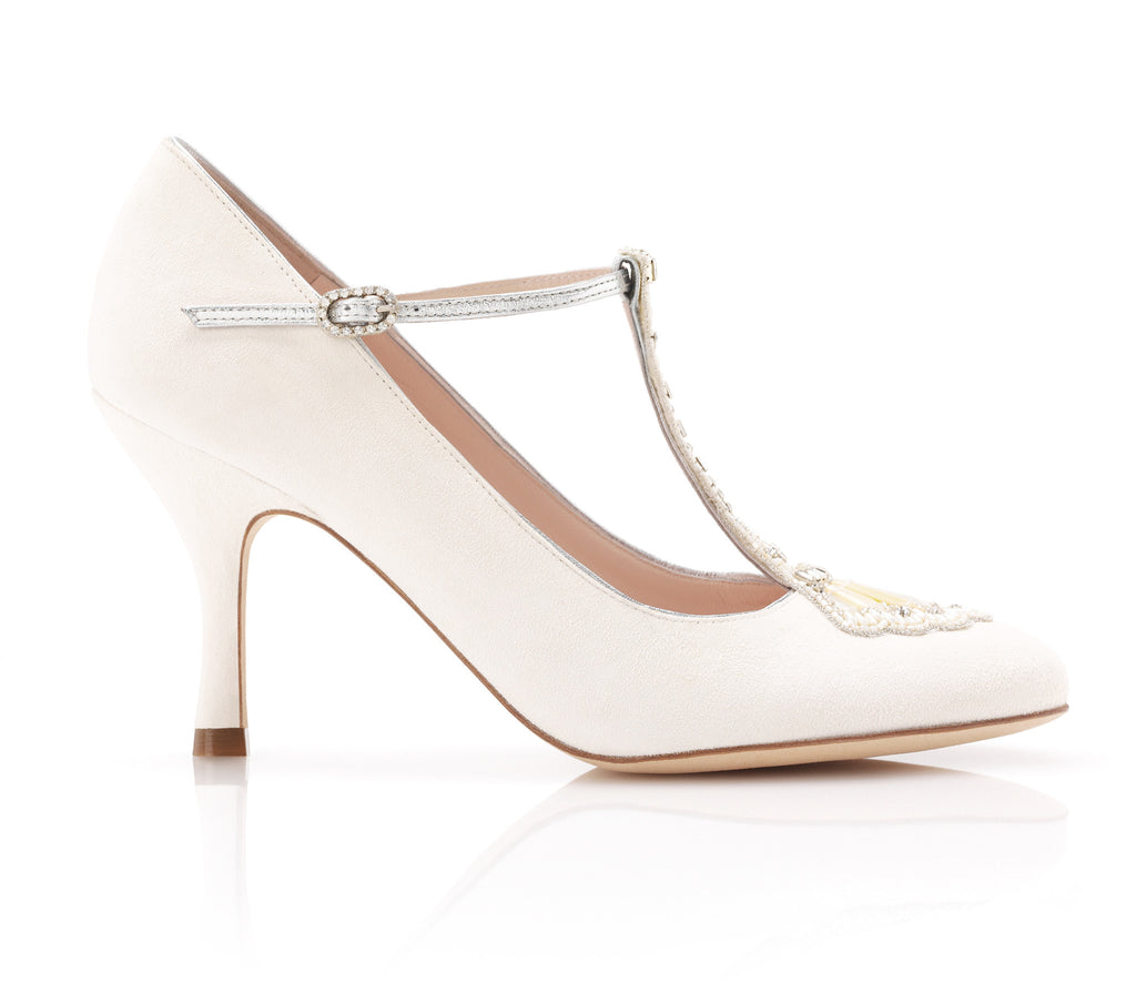 Eva - Bridal Shoe - Ivory Kid Suede - Mid Heel - Court Shoe - Mother of Pearl Trim