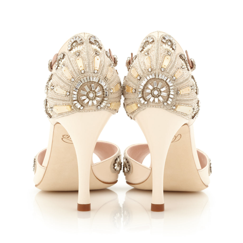Francesca - Bridal Shoe - Blush Leather - High Heel - Sandal - Mother of Peal Trim