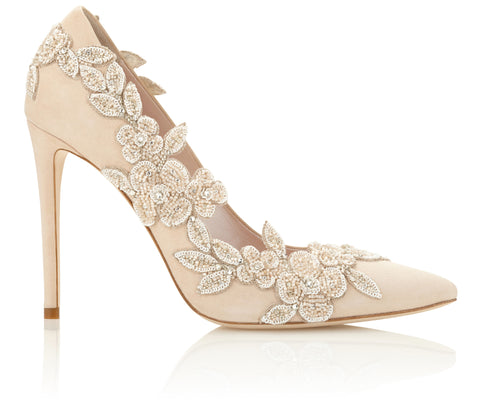 Isadora Wedding Shoes with super high heel and illusion floral embellishment