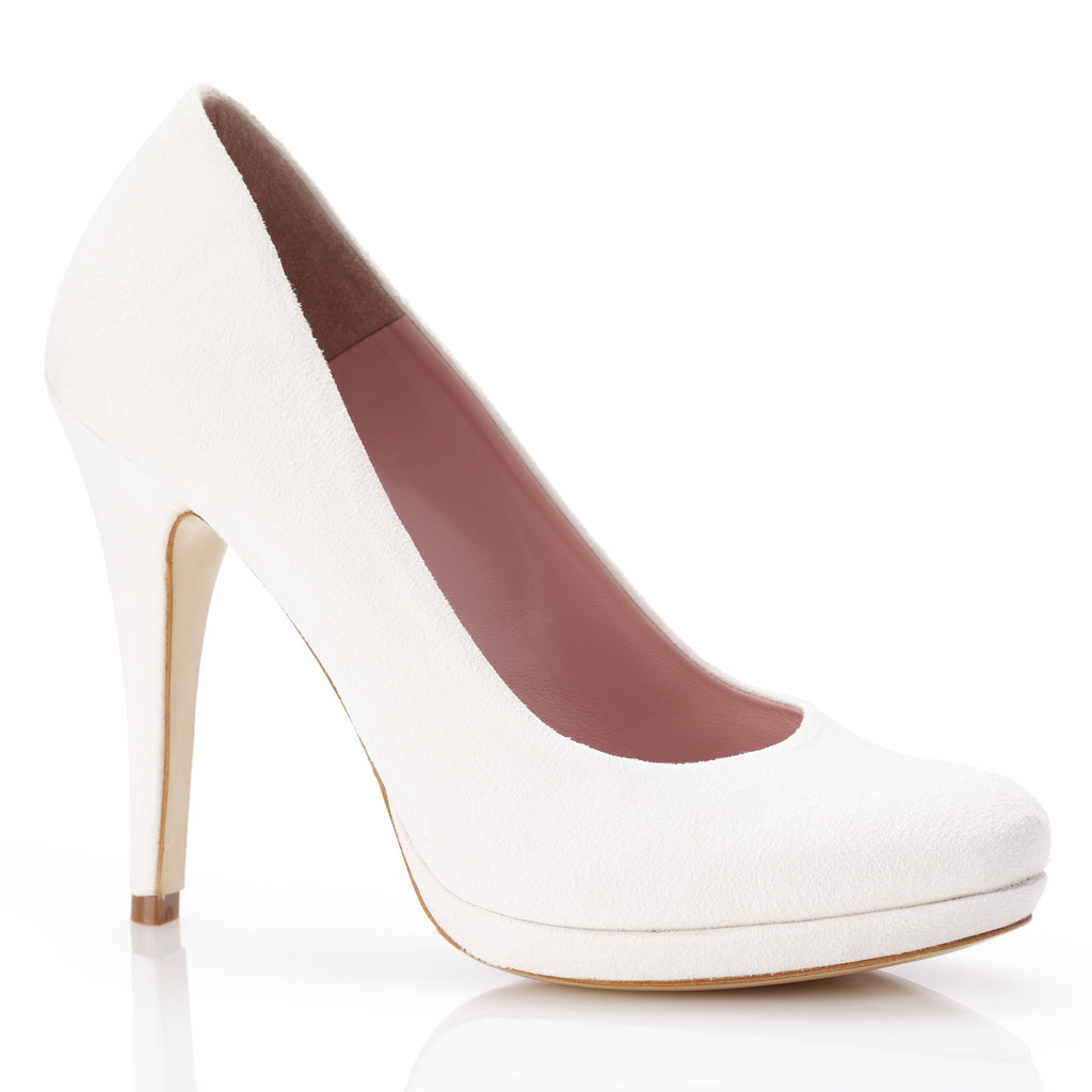 Valerie - Bridal Shoe - Ivory Kid Suede - High Heel - Small Platform Shoe - Silk Satin Rose Detail