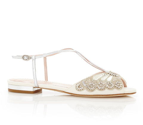 Jude Silver - Bridal Shoe - Ivory Kid Suede and Metallic Leather - Mirrored Trim - Swarovski Crystal
