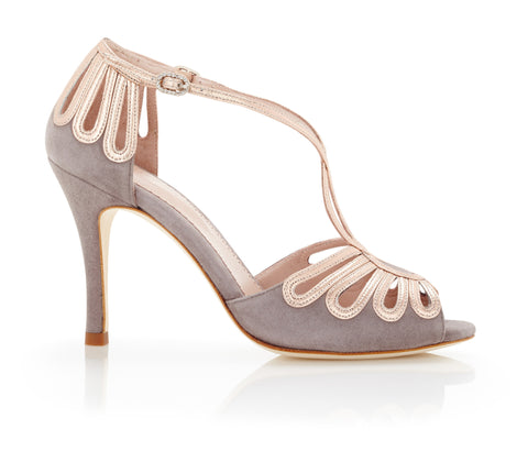 Leila Cinder - Bridal Shoe - Grey Kid Suede - Metallic Leather - Rose Gold