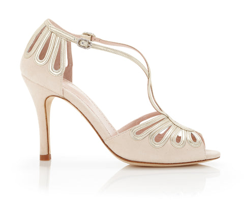 Leila Cream - Bridal Shoe - Metallic Leather - Blush Kid Suede - High Heel - Sandal