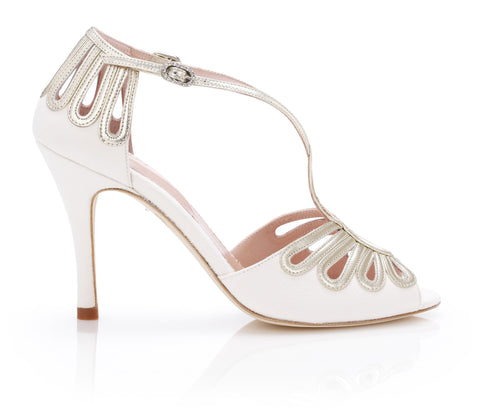 Leila Gold - Bridal Shoe - Ivory Kid Suede and Metallic Leather - High Heel - Sandal