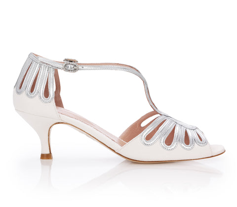 Leila Silver Kitten - Bridal Shoe - Ivory Kid Suede and Metallic Leather - Kitten Low Heel - Sandal