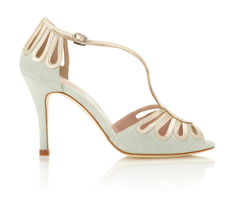 Leila Sky Mint Suede Sandals with Gold Leather Straps High Heels