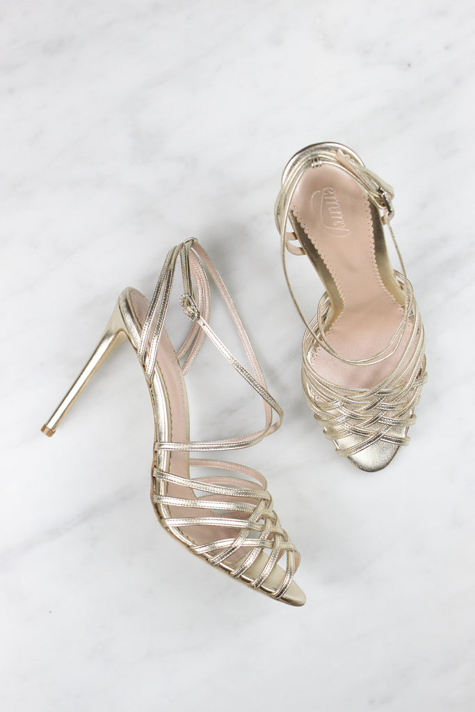 Madeleine Gold Bridal Strap Sandal made in Leather by Emmy London