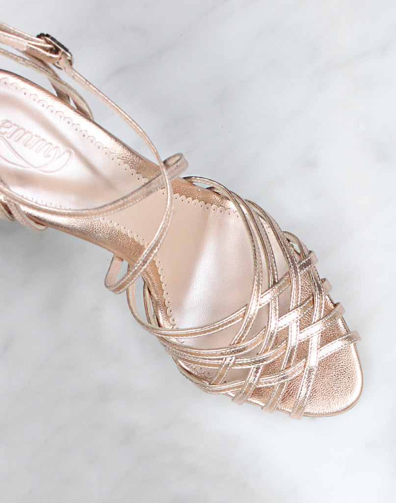 Madeleine Rose Gold Bridal Strap Sandal made in Leather by Emmy London