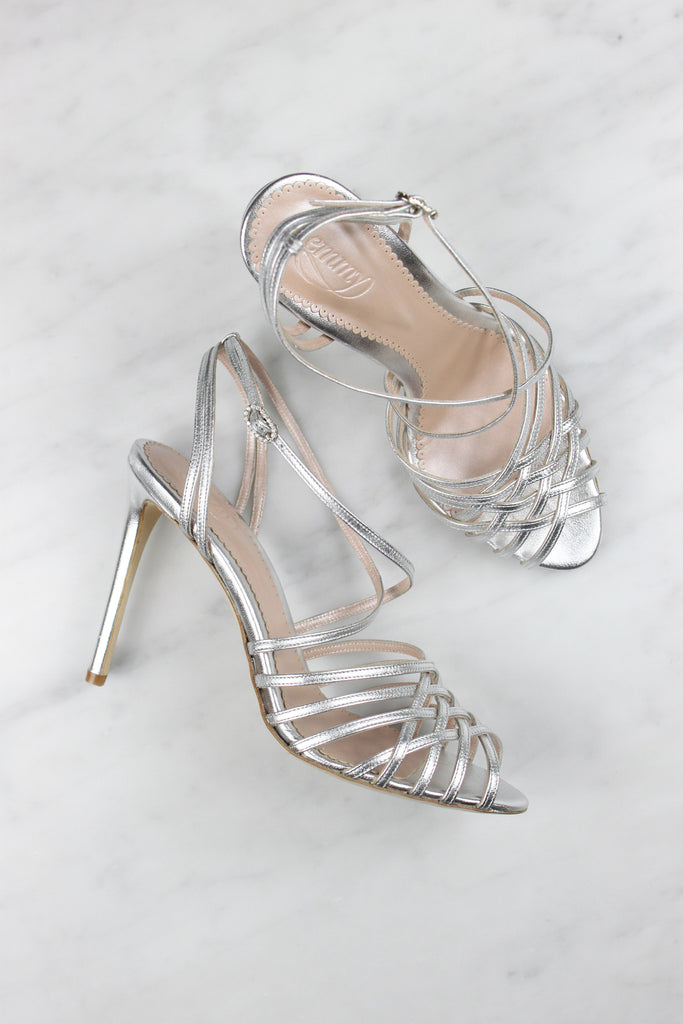 Madeleine Silver Bridal Strap Sandal made in Leather by Emmy London