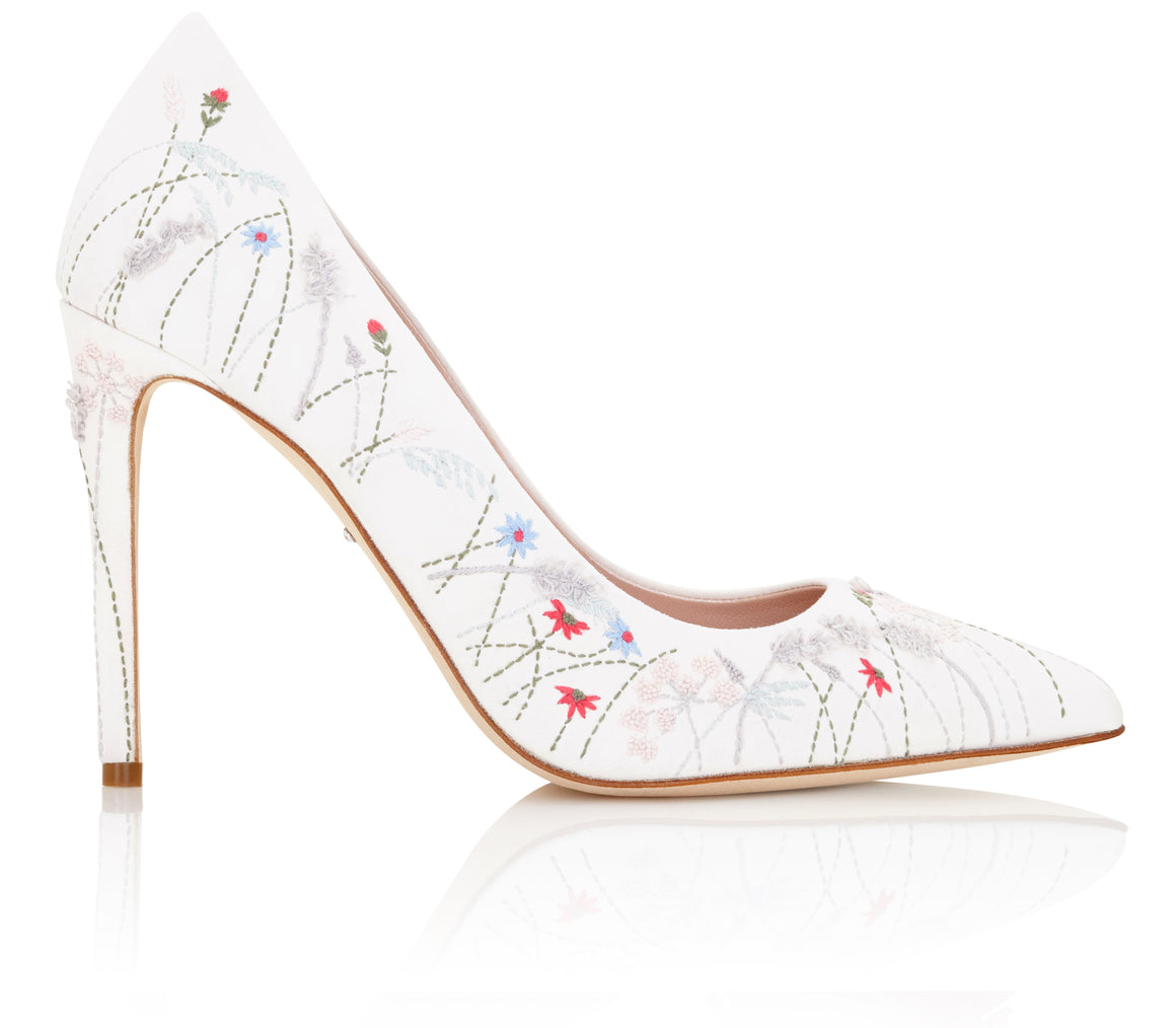 Emmy London Meadow Dreaming Collection Embroidered Bridal Shoe