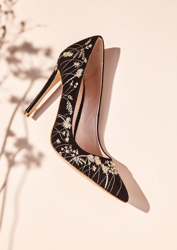 Emmy London Meadow Jet Embroidered Shoes Black and Gold Court Shoes