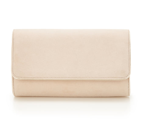 Natasha Blush - Bridal Accessories - Blush Kid Suede - Clutch - Bag - Gold Leather Trim