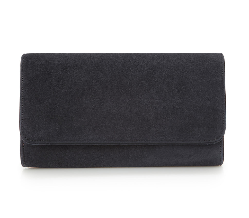 Natasha Carbon - Occasion Accessories - Carbon Grey Kid Suede - Clutch - Bag - Leather Trim