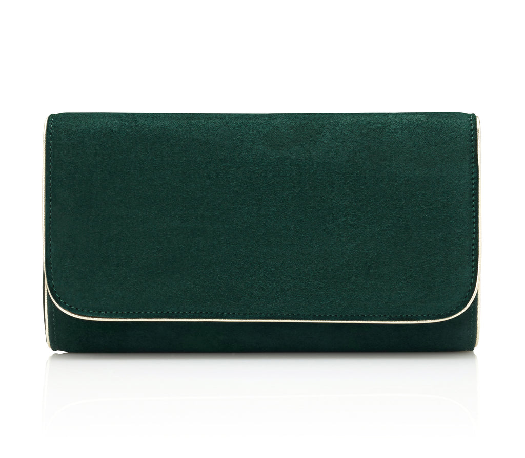 Natasha in Greenery Green and Gold Suede Clutch Designed by Emmy London