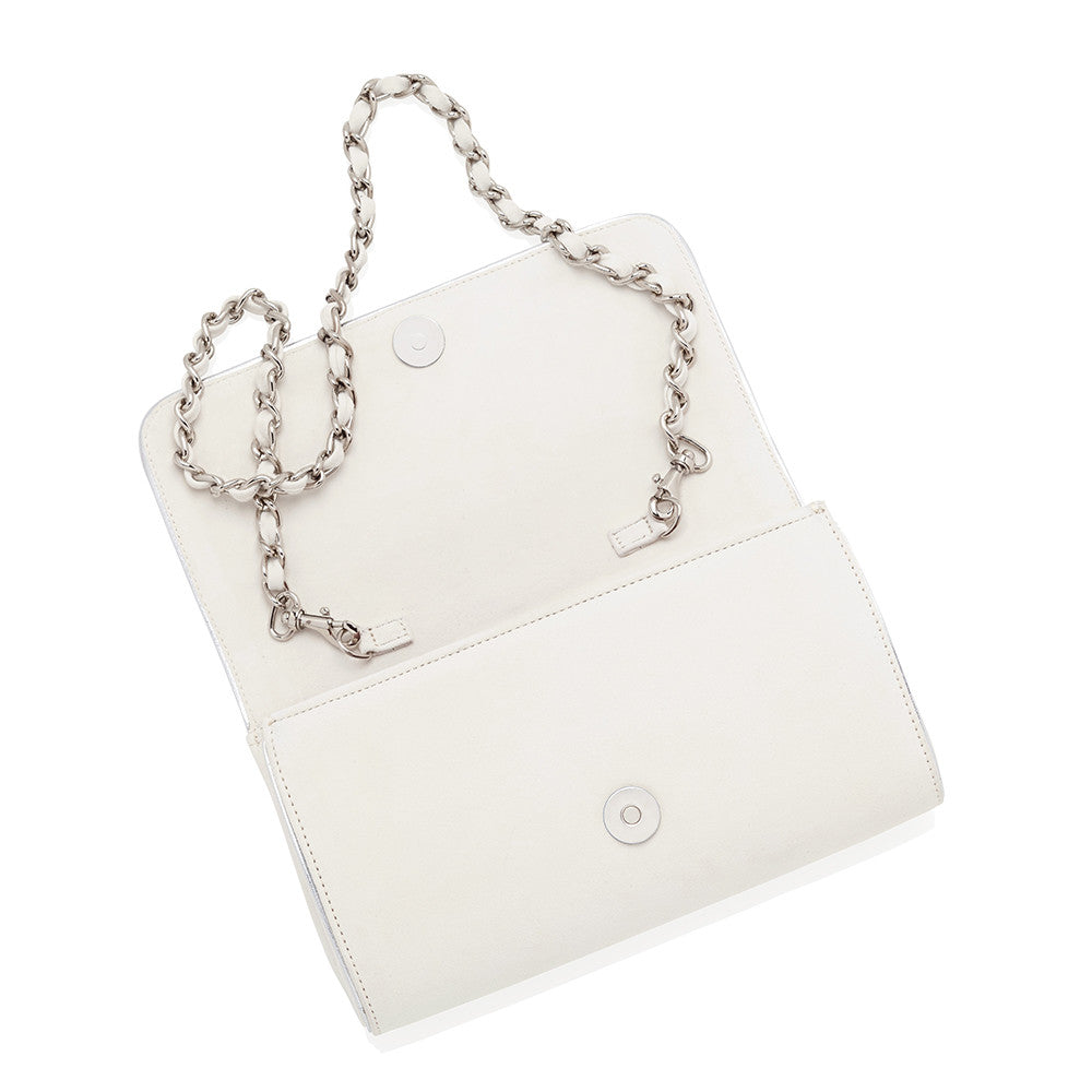 Emmy London Natasha Ivory Clutch Bag White Suede Silver Chain and Piping
