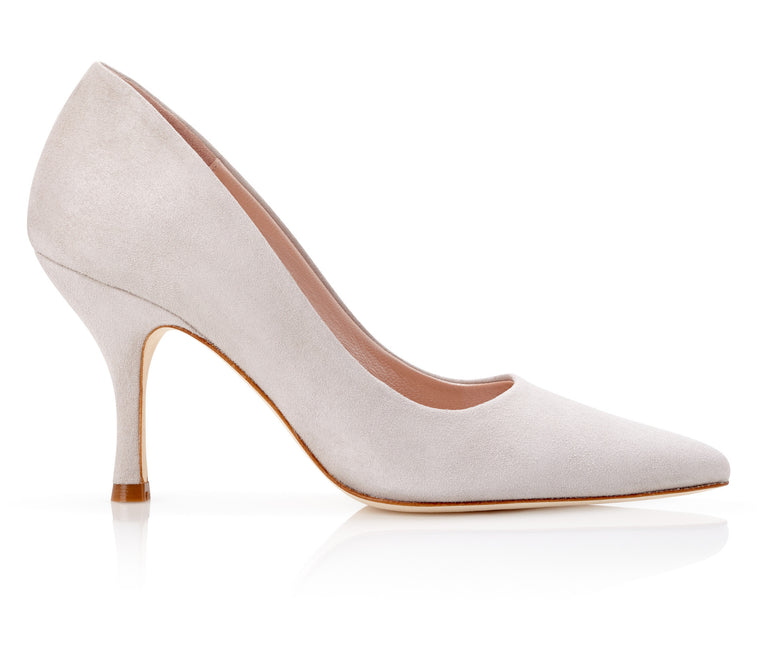Oliva Vapour Grey Suede Court Shoes By Emmy London