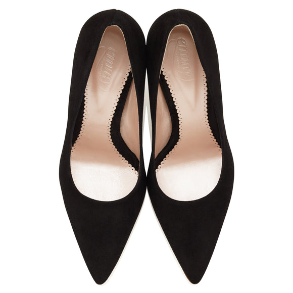 Olivia Jet Pointed Black Suede Court Shoe Designed in London by Emmy Scarterfield