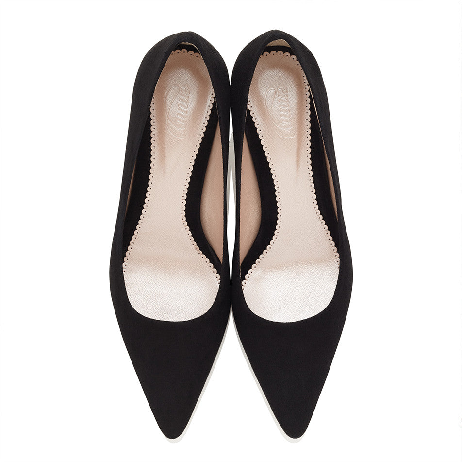 Olivia Kitten Black Jet Kitten Heel Suede Pointed Court Shoe by Emmy London