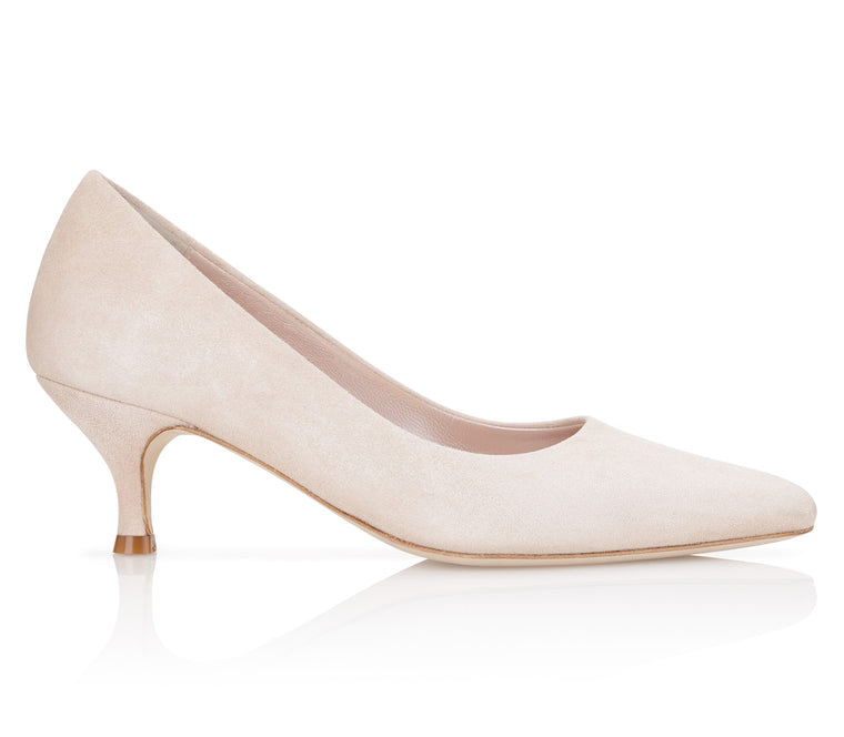 Nude Blush Pointed Kitten Heeled Occasion Shoes By Emmy London