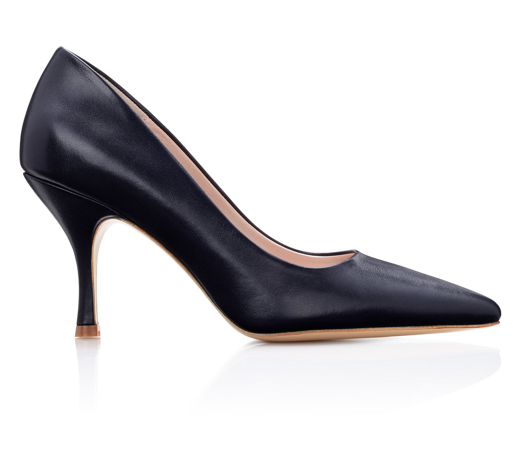Olivia Navy Leather Court Shoe with Pointed Toe and Mid Heel Designed by Emmy London