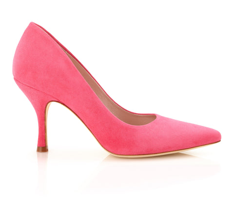 Olivia Peony - Occasion Shoe - Peony Pink Kid Suede - Mid Heel - Pointed Court Shoe