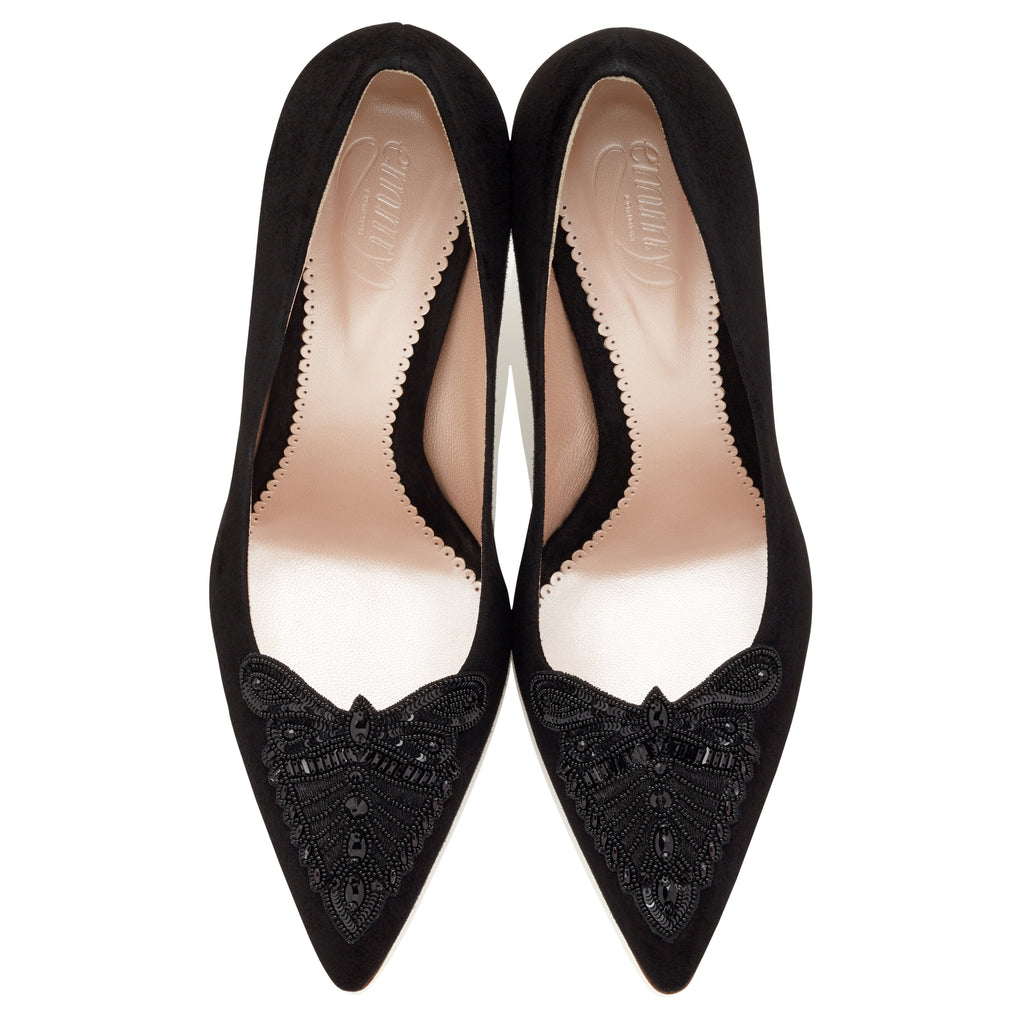 Olivia Jet Embellished Black Court Shoe with Mid Heel Designed by Emmy London