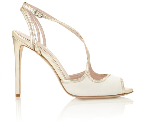 Emmy London Penny Bridal Shoes in Gold Leather and Ivory Suede Stiletto Heel